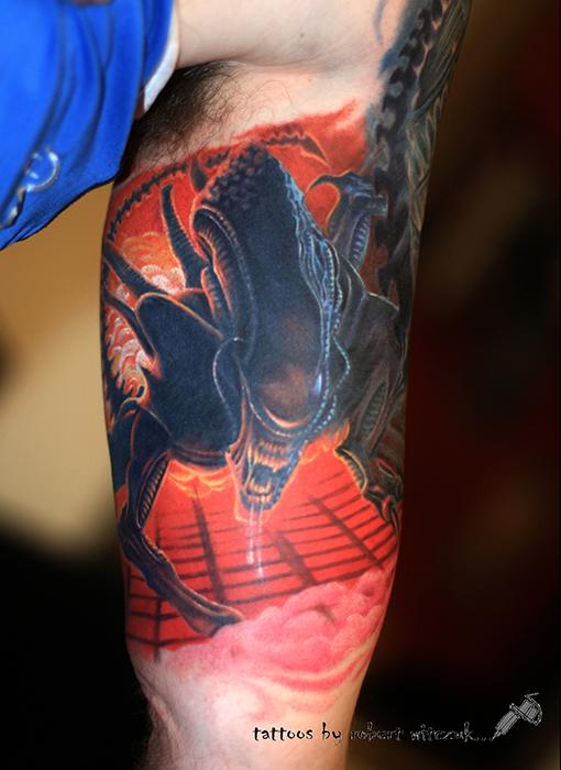 alien comic sleeve robert witczuk tattoos. Black Bedroom Furniture Sets. Home Design Ideas