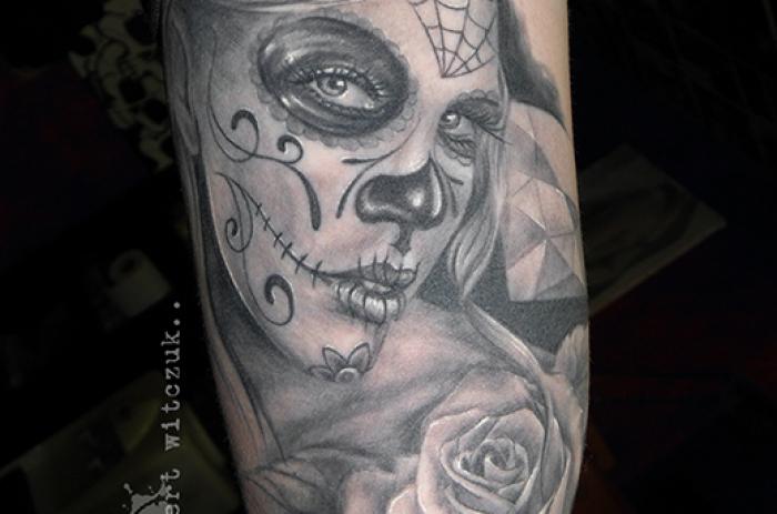 Sugar Skull Tattoo Black And Grey Sugar skull tattoo. black grey