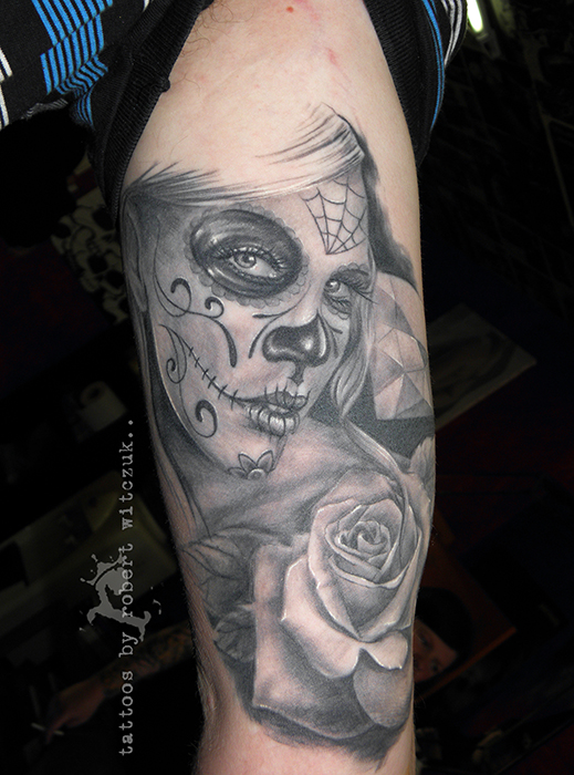 Sugar Skull Tattoo Black And Grey Sugar skull tattoos by robert