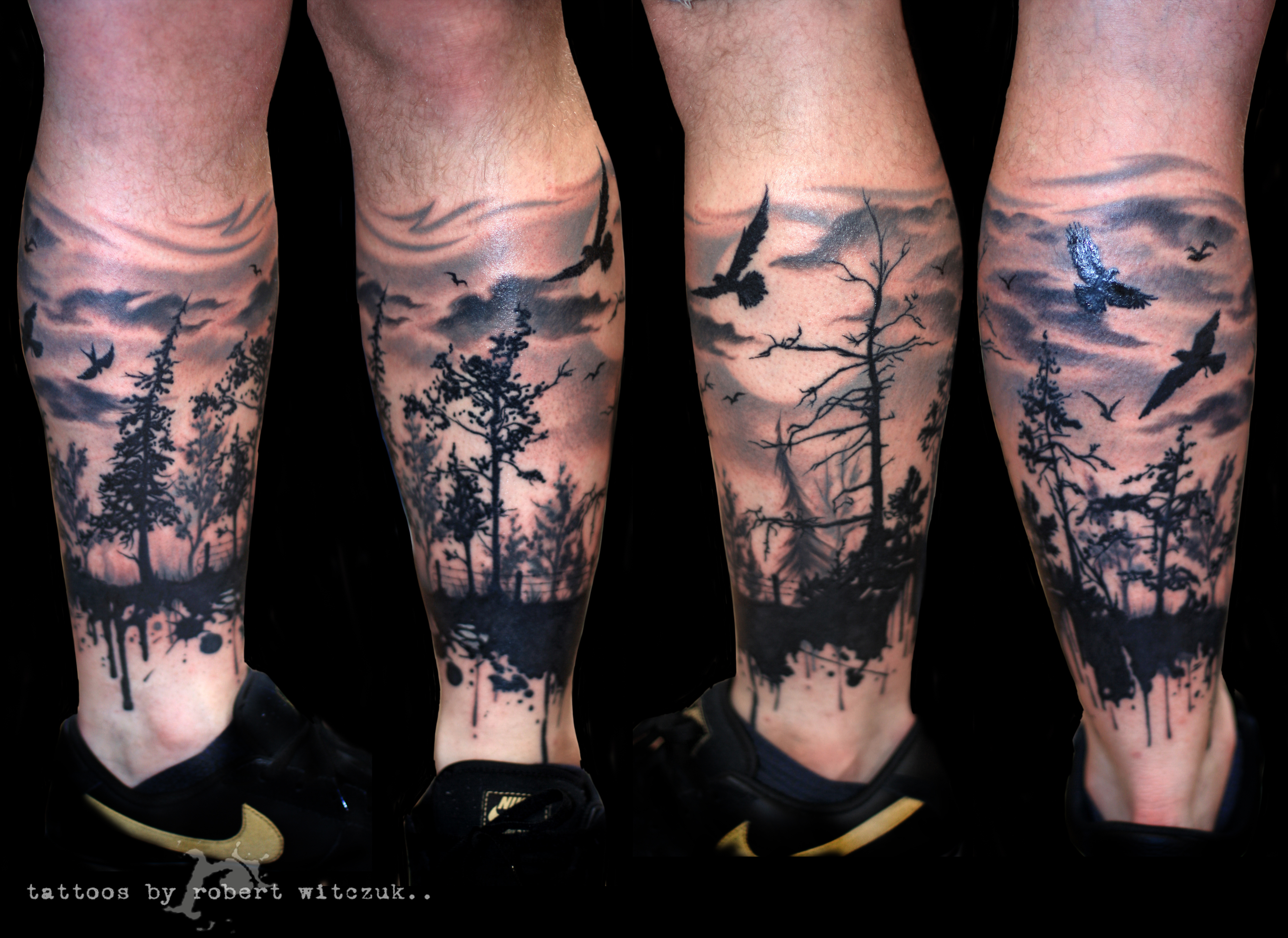 forest in shadow tattoo by robert pixel tattoos pinterest. Black Bedroom Furniture Sets. Home Design Ideas